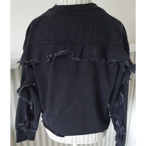 Zara Collection Shredded Black Denim Sweatshirt S
